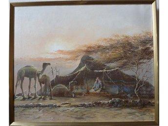 Akryl på duk, signerad.Orientaliskt motiv med kameler. - Malmö - Akryl på duk, signerad.Orientaliskt motiv med kameler. - Malmö