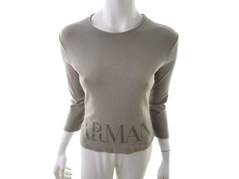AJ ARMANI JEANS size 40 3/4 sleeves, cotton beige logo blouse