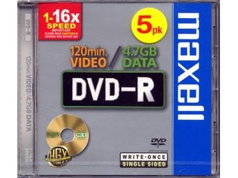 DVD-R Inspelb. DVD Maxell 4,7GB CD-ask 5-pack