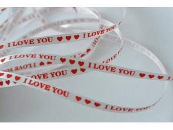 "Dekorband ""I love you"", 0,5 cm/5 meter"