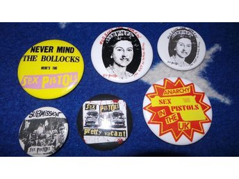 SEX PISTOLS - LOT - 6st Badges / Pins / Knappar (Punk, Rotten, Sid Vicious, 1977