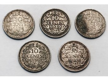 Silver Lot Holland 5 x 10 Cents 1936 - 1941 Nederländerna WWII
