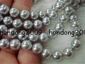 8mm Silver  Shell Pearl Loose Beads 15''AAA