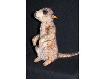 """Javascript är inaktiverat. - Kareby - Stor Steiff """"Mungo"""" the Meerkat. Fint skick -se bilder. ETIKETT/KNAPPMÄRKT Mått: ca 30 cm Steiff """"Mungo"""" the Meerkat EAN 071249 Mungo is a 30cm standing meerkat. He's made of the finest brown and cream mohair. He has a bushy tail, cute little a - Kareby"""