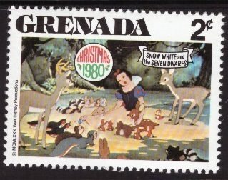 Disney, Grenada, 2-cent, Snow White, Scott 1023