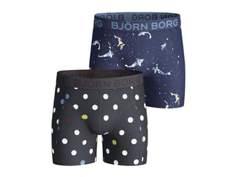 Björn Borg 2-Pack Boys Shorts - Contrast Dot & Coi, Total Eclipse (122-128)