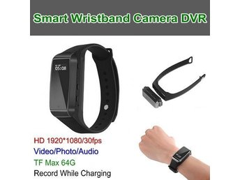 Smart Wristband Kamera DVR, HD1080P, Video / Foto / Audio, TF Max 64G, Batteri