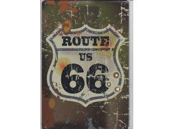 Retro Plåtskylt Route US 66 - Tibro - Retro Plåtskylt Route US 66 - Tibro