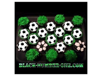 Fotboll tårtoblater - Fotbolls Cupcake / Muffin toppers