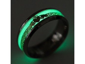 Men Womens Stainless Steel Wedding Engagement Black Night Light Ring Size 19