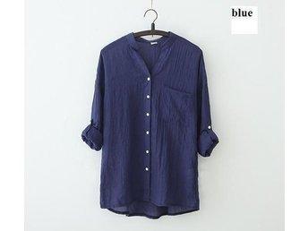 Womens linne skjorta blå size XXL - Beijing - Womens linne skjorta blå size XXL - Beijing