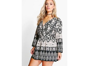 Omlott plus Wrap Paisley svart vit byxsdress  jumpsuit playsuit från UK stl 44