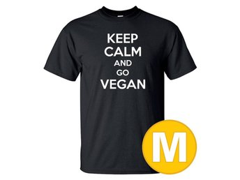 T-shirt Keep Calm Go Vegan Svart herr tshirt M