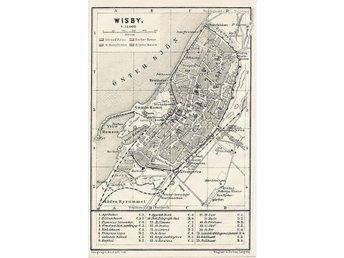 Visby Wisby 1911 orig. small city map Solberga Kloster Silfverhättan Skansen - Berlin - Visby Wisby 1911 orig. small city map Solberga Kloster Silfverhättan Skansen - Berlin
