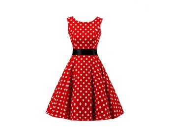 Stl M Polkadot Rockabilly Klänning 50 tal Swing Dress  DC3015