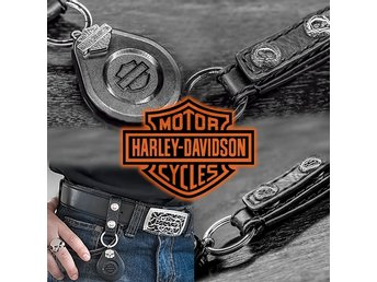 Genuine Harley Davidson Leather & Steel Key Ring with Bar & Shield / STOT006