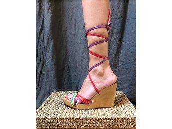 FORNARINA sandaletter platå kilklack trä remma lace up 37 hippie bohem - Strängnäs - FORNARINA sandaletter platå kilklack trä remma lace up 37 hippie bohem - Strängnäs