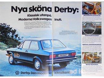 VW DERBY SVENSKA VOLKSWAGEN AB, TIDNINGSANNONS Retro 1977 - öckerö - VW DERBY SVENSKA VOLKSWAGEN AB, TIDNINGSANNONS Retro 1977 - öckerö