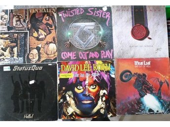 Hårdrock -paket med 6 lp-Twisted Sister,Whitesnake,Status,Van Halen, David Lee