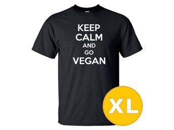T-shirt Keep Calm Go Vegan Svart herr tshirt XL