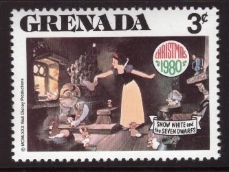 Disney, Grenada, 3-cent, Snow White, Scott 1024