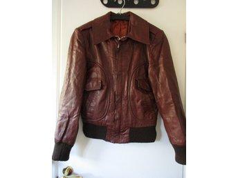 Vintage MALUNG skinnjacka S 173 brun läderjacka 70 tal retro Malungs