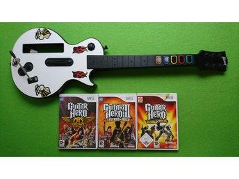 Guitar Hero gitar SVENSK utgåva med 3 Guitar Hero Spel Nintendo Wii - Västerhaninge - Guitar Hero gitar SVENSK utgåva med 3 Guitar Hero Spel Nintendo Wii - Västerhaninge