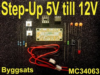 Byggsats MC34063 Step-Up omvandlare 5 - 12 Volt.