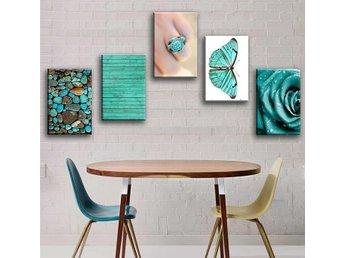 Zeit4art Turkos Ros Fjäril Stenar 5 bilder 60x40cm canvas uppspänd - 41-400 - Zeit4art Turkos Ros Fjäril Stenar 5 bilder 60x40cm canvas uppspänd - 41-400