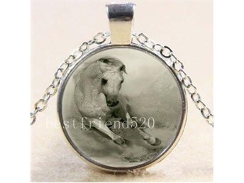 White Horse Free Running Cabochon Glass Tibet Silver Chain Pendant Necklace