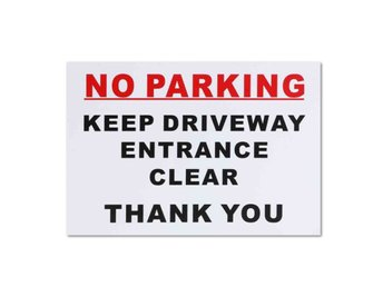 297x210mm No Parking Sticker Keep Driveway Entrance Clear...