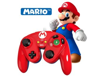 Wii U Wired Fight Pad - Kontroller - Mario Edition (Official) Toppen skick!