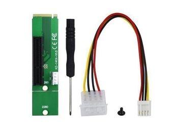 Javascript är inaktiverat. - Västra Frölunda - Adapterkort för att få en extra PCI-E-plats via NGFF M.2-porten. Kan användas för att t.ex. få plats med ett eller två extra grafikkort vid majning. 1 st PCI-E 4x till NGFF M.2 hankontakt adapterkort 1 st Floppy 4-pin till Molex  - Västra Frölunda