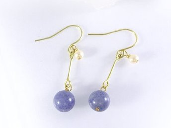 Round Stone Earrings Aventurine (Blue)  L