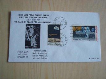 Apollo 11 First Man on the Moon 1969 USA förstadagsbrev FDC 2 frimärken - Jämjö, Blekinge - Apollo 11 First Man on the Moon 1969 USA förstadagsbrev FDC 2 frimärken - Jämjö, Blekinge