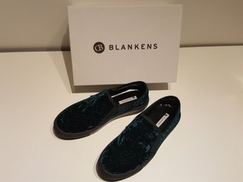 "Sko: BLANKENS ""The Nico"" Bottle Green, krossad sammet, Stl 41"