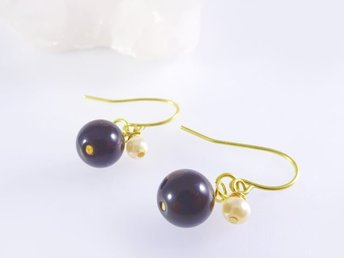 Round Stone Earrings Onyx  S