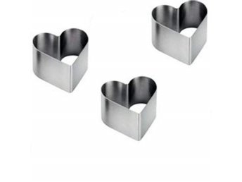 Stainless Steel 3-Piece Food Heart Press Set Presentation Rosti Cookie Cutter