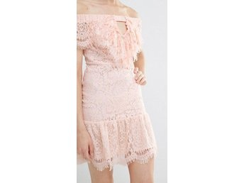 Endless Rose Lace Off The Shoulder Dress, Nude Pink, Size S