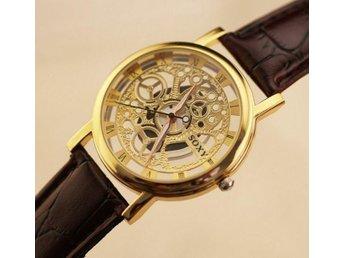lyxvarumärke Unik Design mens skelett guld armbandsur Läderrem Kvarts klocka - Södertälje - lyxvarumärke Unik Design mens skelett guld armbandsur Läderrem Kvarts klocka - Södertälje