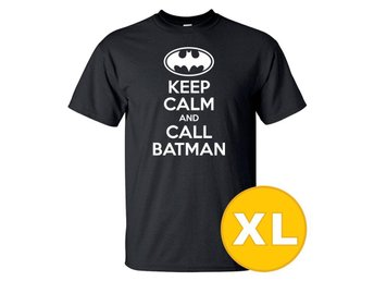 T-shirt Keep Calm Call Batman Svart herr tshirt XL