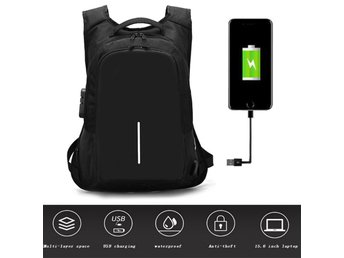 Anti Theft Lock Backpack USB Charge Waterproof Laptop Bag Black