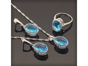 Oval blå safir 925 sterling silver halsband hänge Örhängen ring 19mm - Helsingborg - Oval blå safir 925 sterling silver halsband hänge Örhängen ring 19mm - Helsingborg