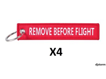 4st Nyckelring Remove before flight (RÖD)