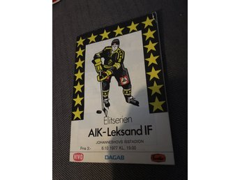 HOCKEY Matchprogram AIK v Leksands IF 6/10 1977 Johanneshov