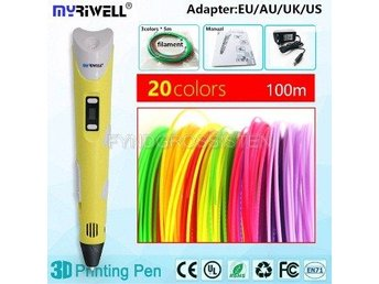 "Myriwell 2nd Generation LED DIY 3D Pen ""yellow A100m"" Fri Frakt Helt Ny"