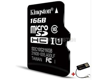 "Kingston TF Micro SD-kortminneskort ""P2TFC10 16G + TF Read"" Fri Frakt Helt Ny"