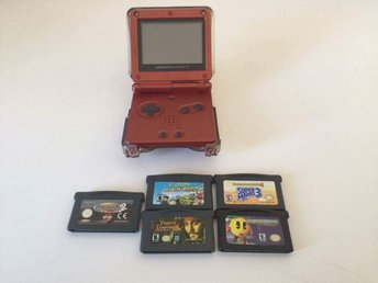 Gameboy Advance SP Konsol + Spel - Svensksålt