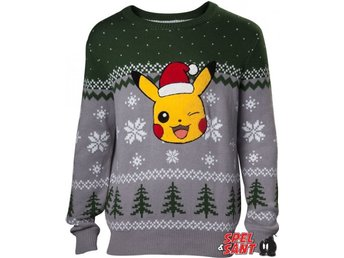 Pokemon Pikachu Aplication Stickad Jultröja Grön/Grå (Medium)