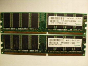 1GB DDR (2X512) DDR PC 3200. Apacer 100% OK. Reas Nu. - Osby - 1GB DDR (2X512) DDR PC 3200. Apacer 100% OK. Reas Nu. - Osby